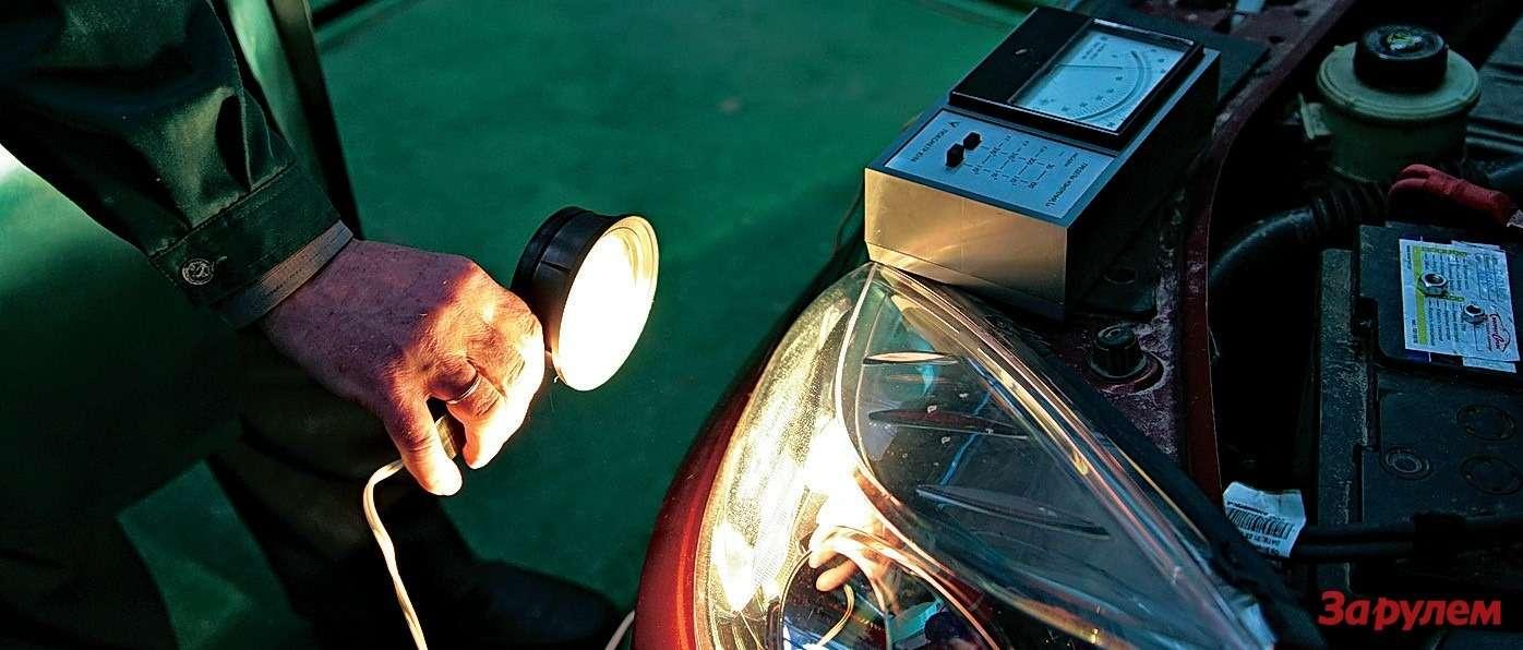 Длязамеров освещенности штатных идополнительных фар использовали люксметр Ю-116. Параметры фиксировали нарасстоянии 60мм отисточников света.