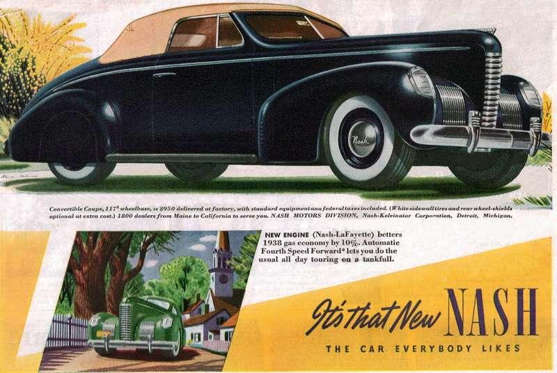 Обложка проспекта автомобилей Nash 1939 модельного года. ДеСахновски признавали «вдохновителем» стиля этой марки