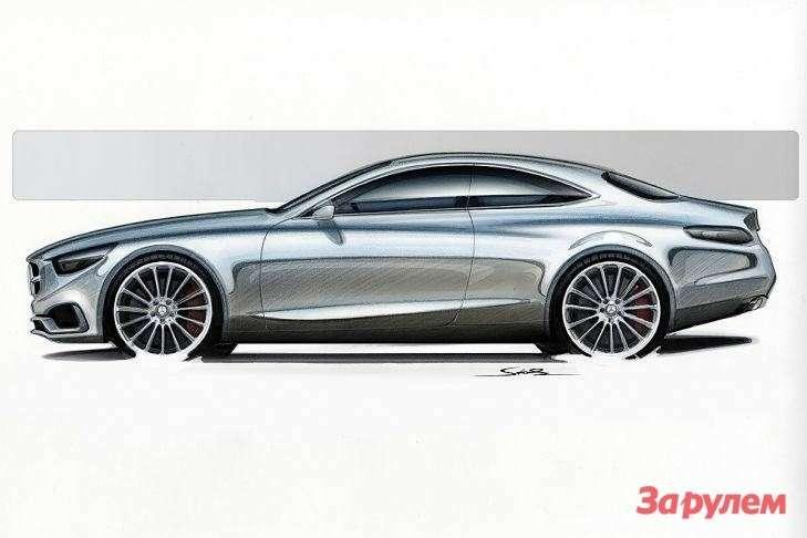 Скетч концептуального купе Mercedes-Benz S-class Coupe Concept