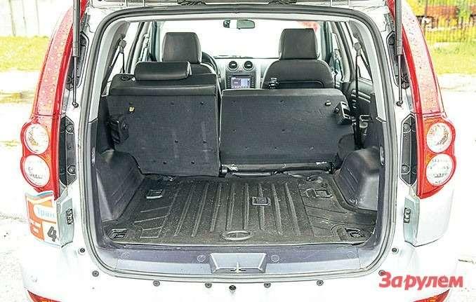 Багажник «Ховера» самый маленький вквартете— 456л. Спинка раскладывается почастям.