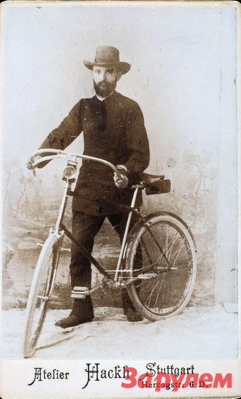 Роберт Бош, снимок 1890 года. Велосипед Боша стал притчей воязыцех— нанем владелец вбудущем одной изсамых крупных электротехнических фирм вмире ездил кклиентам