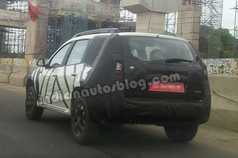 Nissan Terrano test mule spotted inChennai nocopyright