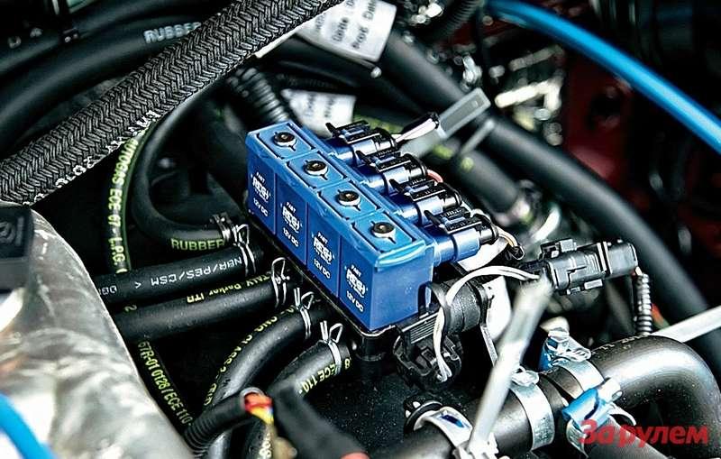 Блок электромагнитных клапанов итопливную газовую рампу сошлангами иштуцерами устанавливают намоторном заводе вУльяновске. Окончательная сборка всей газовой аппаратуры проходит вНижнем.