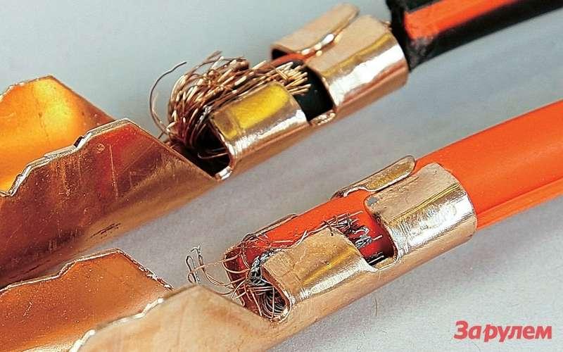 Пример бездарного обжима: провода при нагреве изменили цвет насерый.
