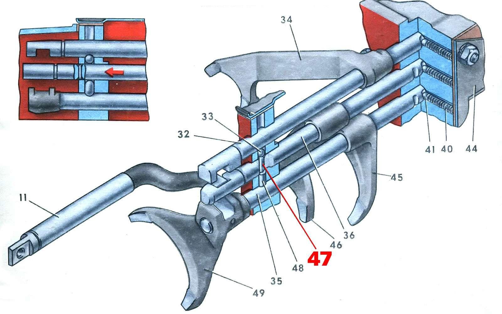 Схема штоков вилок коробки передач ЗАЗ-966