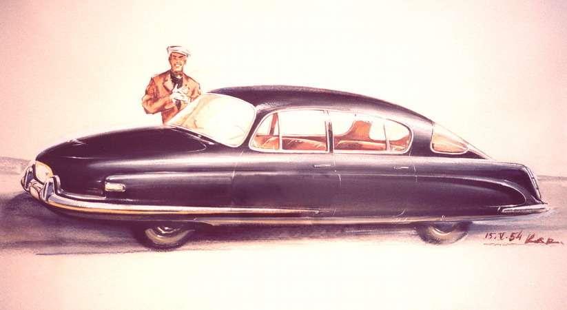 Эскиз «Валюты», сделанный Франтишеком Кардаусом 15мая1954 года. Оннаиболее близок ктому, что витоге запустят всерию. Масштабные макеты автомобиля продували ваэродинамической трубе виспытательном центре ВВС вЛетнянах. Эскиз хранится взаводском музее Tatra вКопрживнице