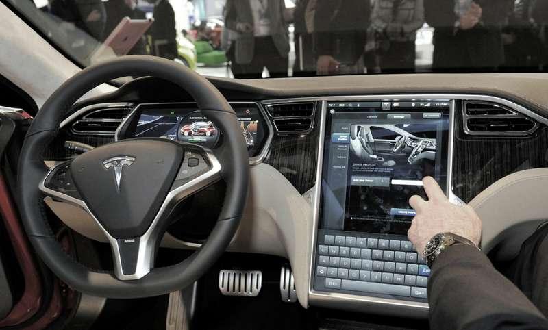 File photo ofthe interior ofthe Tesla Model Satthe North American International Auto Show inDetroit