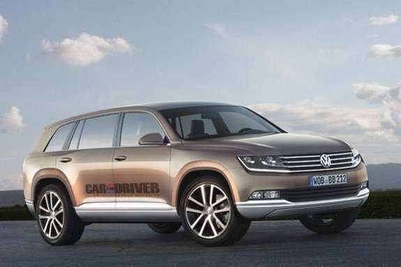 Volkswagen 7-seat SUV rendering by Car & Driver
