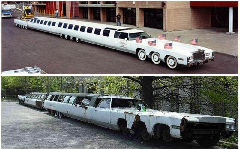 Самый длинный лимузин вмире: 30-метрового монстра бросили напарковке