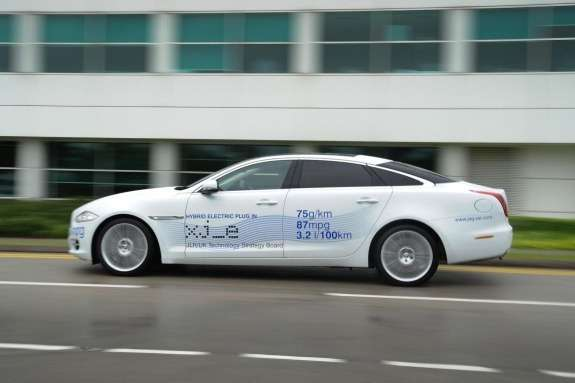 Jaguar XJ_e plug-in hybrid research vehicle side view 2