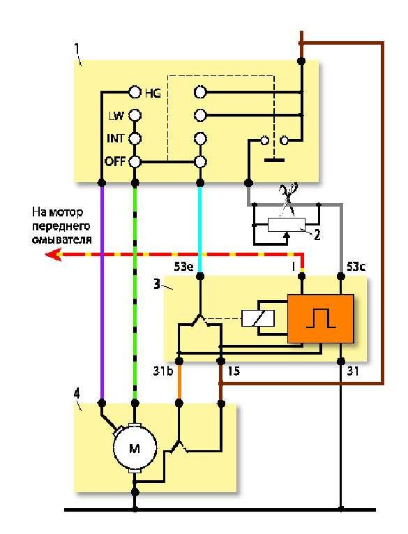 Доработка стеклоочистителя: 1— подрулевой переключатель; 2— дополнительный переменный резистор (10-20кОм); 3— реле паузы стеклоочистителя; 4— электродвигатель стеклоочистителя. Доработка салонного плафона.