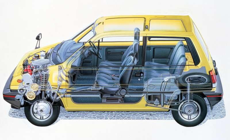 Автомобиль отличался «плотной» компоновкой ивместе стем был рассчитан напятерых, пусть ияпонского телосложения, пассажиров. Оснащался моторами 1,23или 1,19л, пяти- или четырехступенчатыми механическими трансмиссиями, атакже полуавтоматической роботизированной трехдиапазонной планетарной трансмиссией Hyper Shift сгидромуфтой сцепления (модификация City U). Габарит автомобиля: длина— 3380мм, ширина— 1570, высота— 1470мм. Колесная база— 2220мм. Снаряженная масса— от635до 770кг взависимости отмодификации