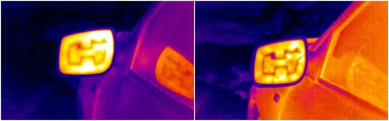В инфракрасном свете электрообогрев зеркала