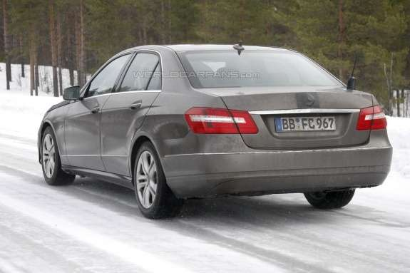 Facelifted Mercedes-Benz E-class side-rear view