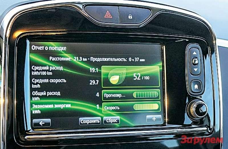 Наглядно оценивает стиль вождения зеленый листик вправой верхней части картинки. Чем онбольше, тем езда экономичнее. Система даже ставит баллы; ярешил не экономить иполучил 52из 100.