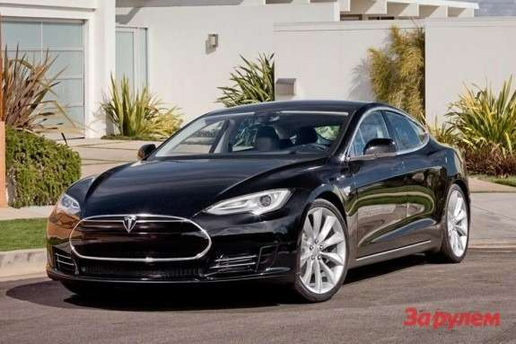 Tesla Model S side-front view