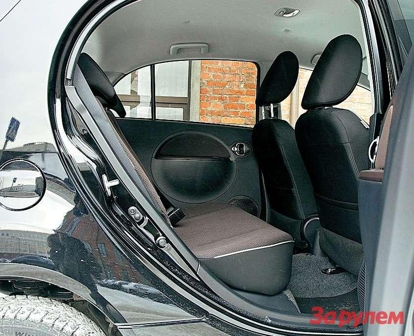 Сзади очень просторно. Спинки сидений легко складываются как вместе, так ираздельно, подушка снимается. Под ней компрессор иремкомплект дляшин.