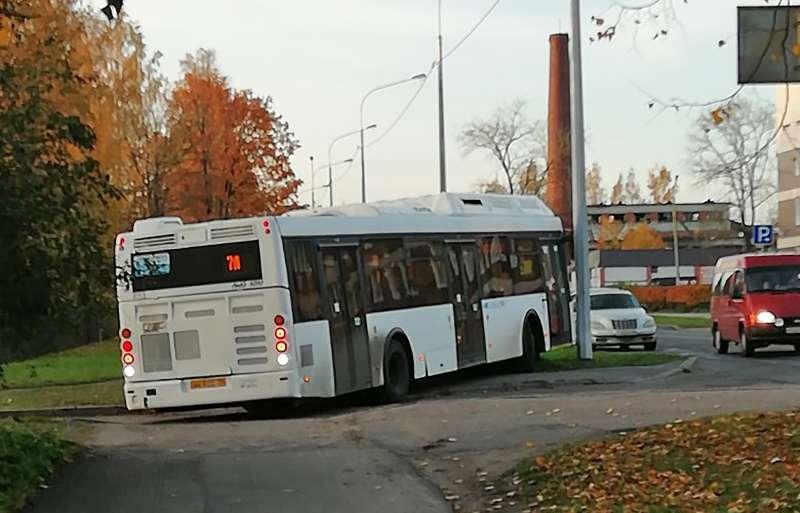 Водитель автобуса превратил тротуар в выделенку. Реакция соцсетей