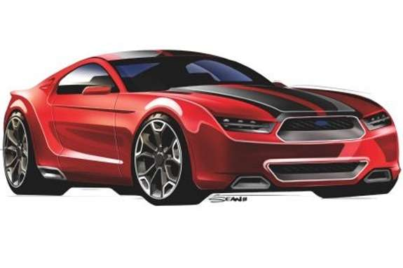 Next Ford Mustang rendering by Sean Smith side-front view