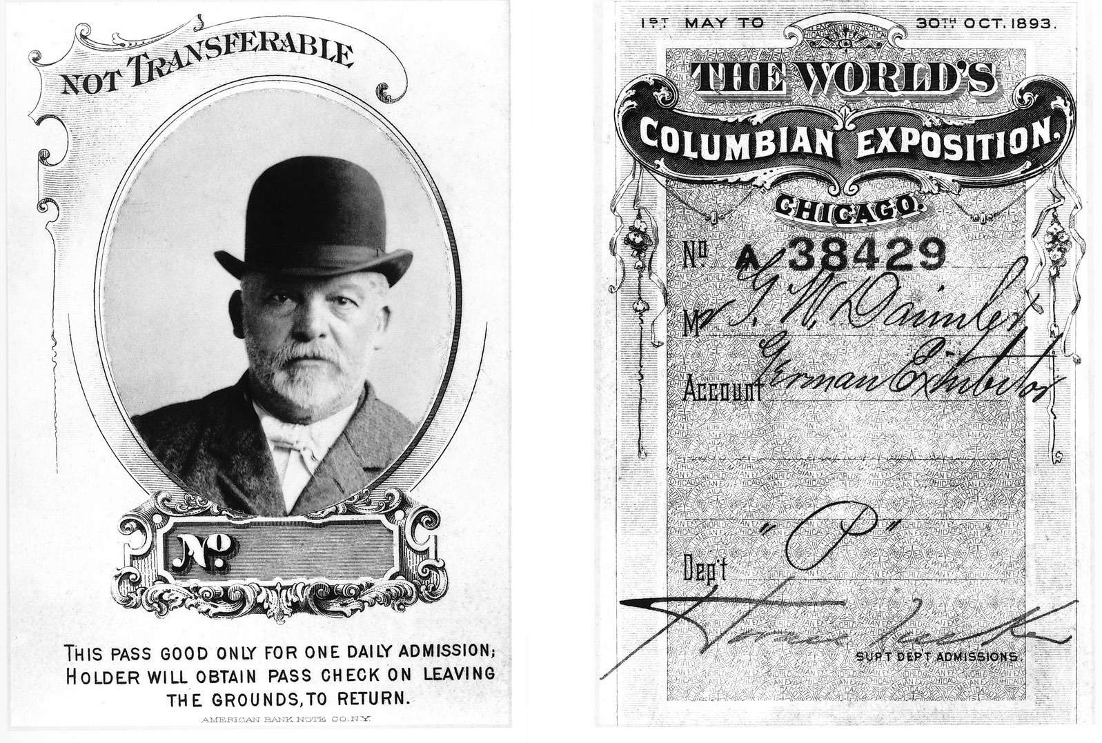 Ещеодин пропуск, наэтот раз выписанный Готлибу Даймлеру дляпосещения Чикагской всемирной выставки 1893 года.