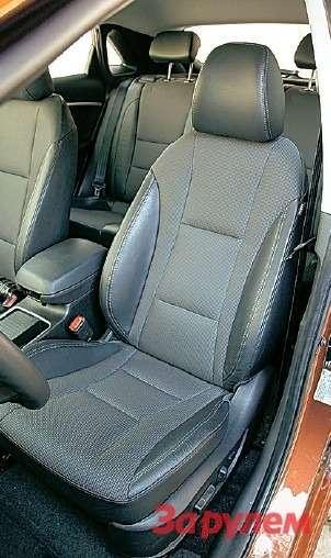 Передние сиденья i30с электрорегулировками выглядят весомо исовременно, однако здорово уступают немецким в«Астре» и«Гольфе».