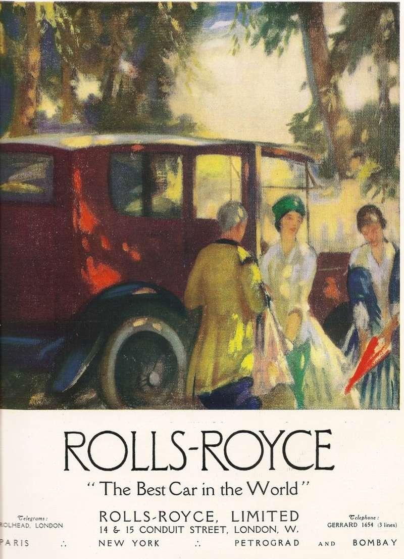 Изящной рекламе Rolls-Royce были не чужды мотивы импрессионистов. Интересно, что реклама марки утверждала, будто мощность автомобилей RR«достаточная». Вовсяком случае, вначале ХХвека измощности неделали секрета. Умодели 40/50HP она составляла до48л.с. Изархива Станислава Кирильца
