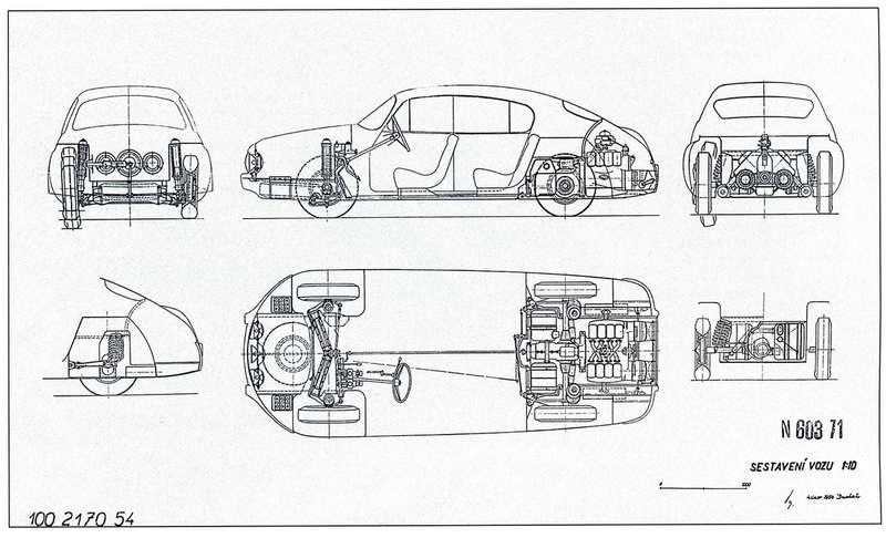 Накомпоновочной схеме автомобиля (это один изранних эскизов) видно расположение аккумуляторов и«запаски», атакже конструкция подвесок