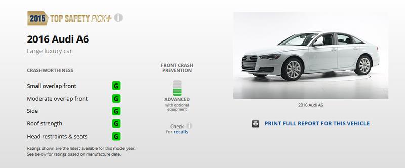 Audi A6блестяще прошла краш-тест смалым перекрытием