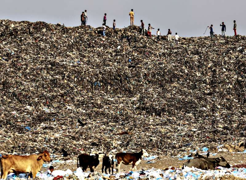 Garbage At The Deonar Landfill Site As Trash Mountain Rising in Mumbai Swamps Modi 21st Century Vision...Boys play as cows graze through garbage at the Deonar landfill site in Mumbai, India, on Wednesday, March 11, 2015. Mumbai is running out of space for its waste, and Deonar, Asia's oldest and largest dumpsite, is bursting. Each day, more than 500 trucks line up along a two-lane dirt road in an eastern suburb, waiting to add to a mountain of refuse tall enough to submerge the White House twice over
