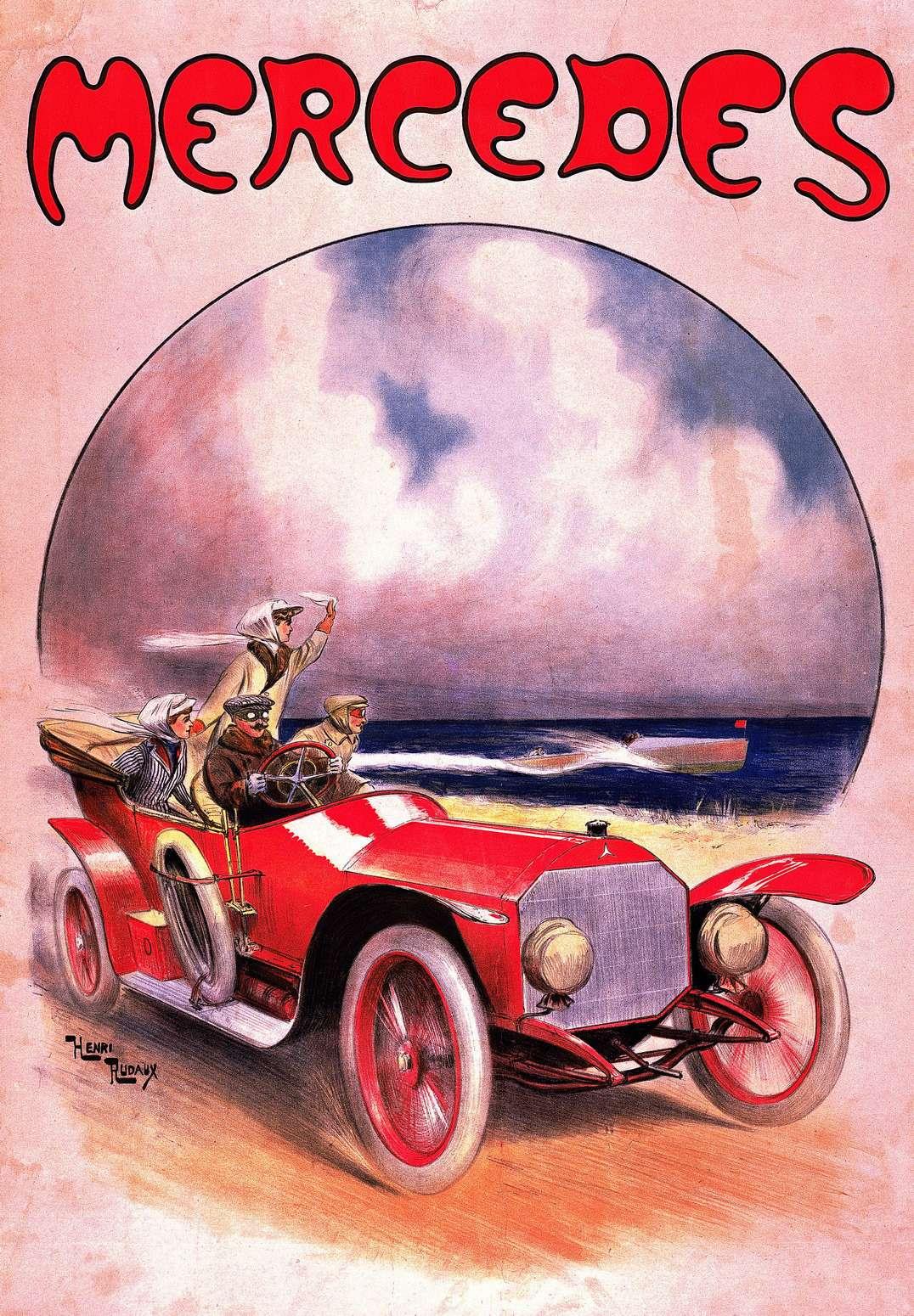 …иDaimler (Mercedes 14/30PS напостере Энри Рудо 1910 года)