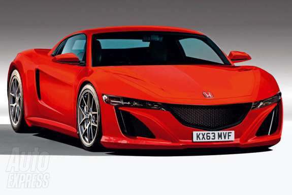 New Honda NSX rendering by Autocar side-front view