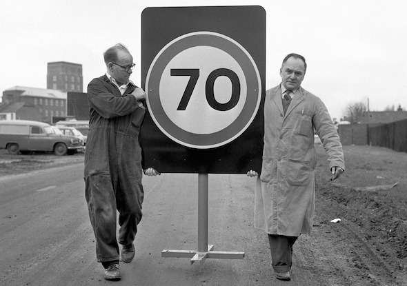 Transport — 70 mph Road Sign — 1965