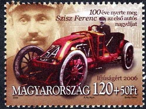 Ференц Шиш (20.09.1873— 21.02.1944гг.)— выдающийся венгерский гонщик, ставший в32года победителем первого вистории Гран При, навенгерской почтовой марке.