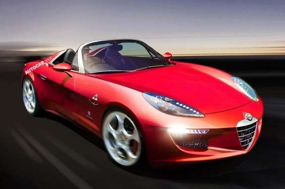 Alfa Romeo Spider rendering byAutocar side-front view