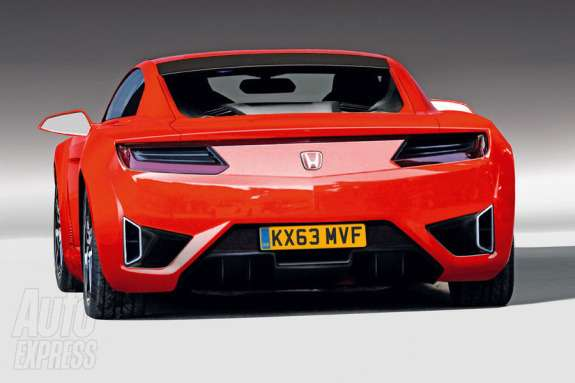 New Honda NSX rendering by Autocar rear view