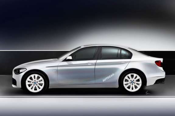 BMW 1-Series saloon rendering by Autocar side view