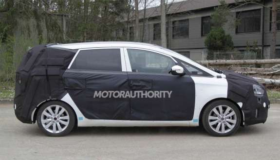 New Kia MPV test prototype side view