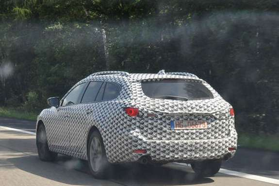 New Mazda6 station wagon test prototype side-rear view