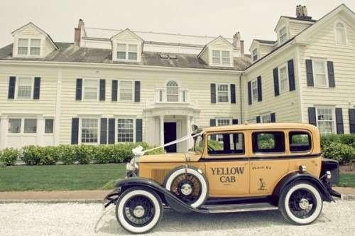Vintage Yellow Cab Nantucket Wedding