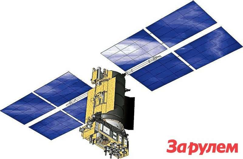 Спутник системы ГЛОНАСС сразвернутыми солнечными батареями.