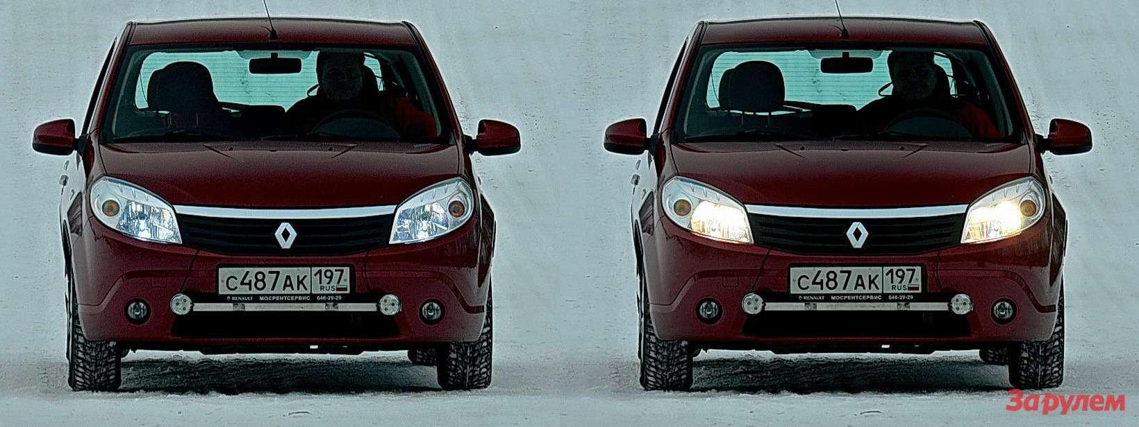 Габаритный огонь,зажженный светодиодной лампой, иштатный ближний свет. Сравнение, безусловно, впользу штатного варианта (справа). Снезаконными светодиодными светильниками автомобиль нетолько непройдет гостехосмотр, ноипотенциально опасен дляокружающих.
