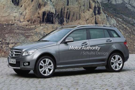 Mercedes-Benz GLA-class rendering byMotor Authority side-front view