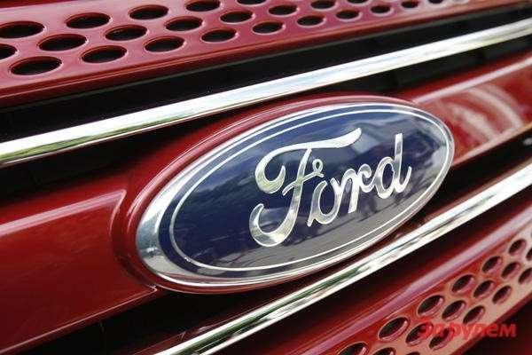 A Ford logo is pictured during the unveiling ceremony of the new 2011 Ford Explorer in Chicago