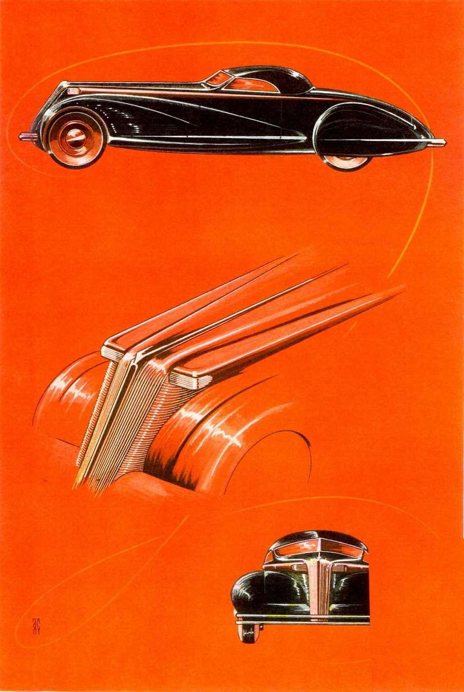 С января 1934 года Алексис деСахновски возникает втитуле мужского журнала Esquire вкачестве ведущего раздела техники имеханизмов. Оннасыщает журнал иллюстрациями настоящих ивымышленных автомобилей