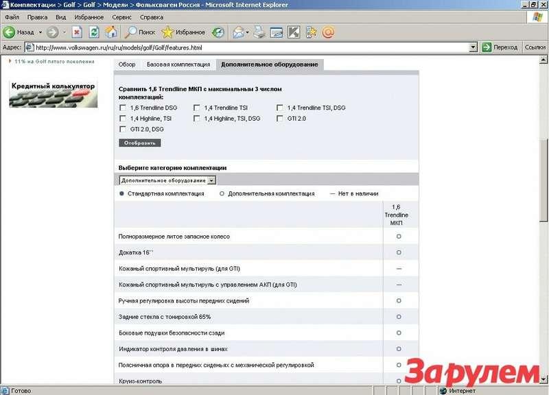 У «Фольксвагена» Интернетом сыт не будешь. Остается надежда, что продавец накормит сведениями. Главное, чтобы вкусы совпали. www.volkswagen.ru