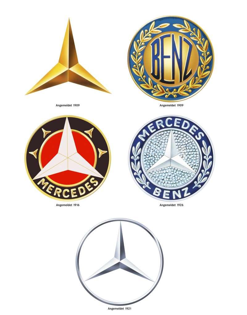 Эмблемы компаний Benz und Cie иDaimler Motoren Gesellschaft иконцерна Daimler-Benz AG.