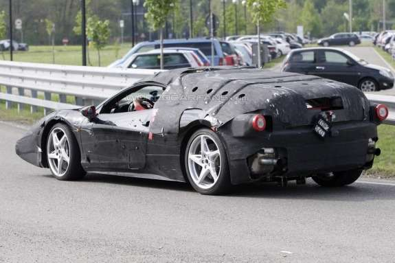 Ferrari Enzo's successor test prototype side-rear view