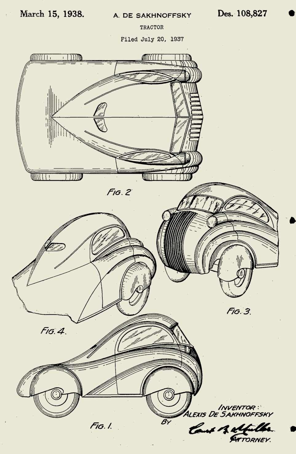 Какдалеко может зайти дизайнер всвоем воображении? Хотя грузовик такой формы небыл построен, Сахновский посчитал необходимым еезапатентовать. 1937год