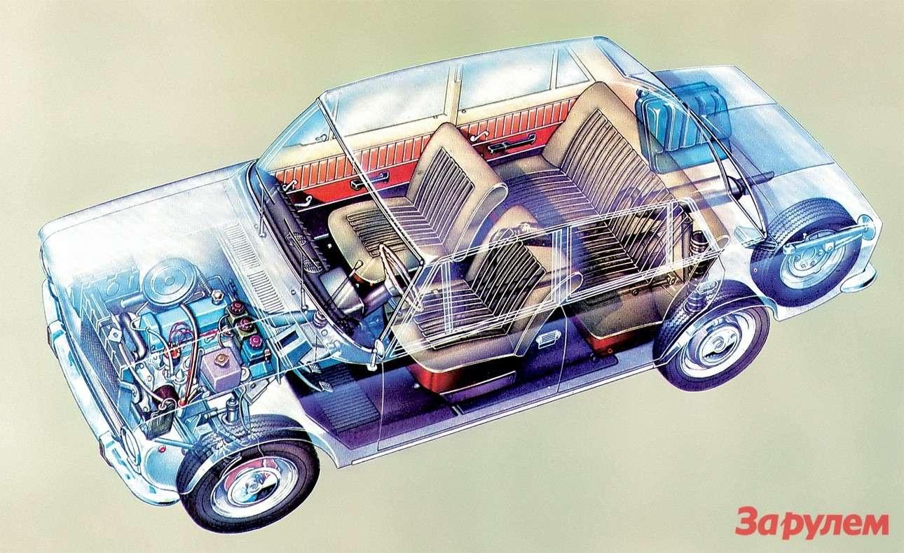 В начале 1970-х ВАЗ-2101был вполне современным автомобилем: дисковые тормоза спереди, пружинная задняя подвеска, верхневальный двигатель.
