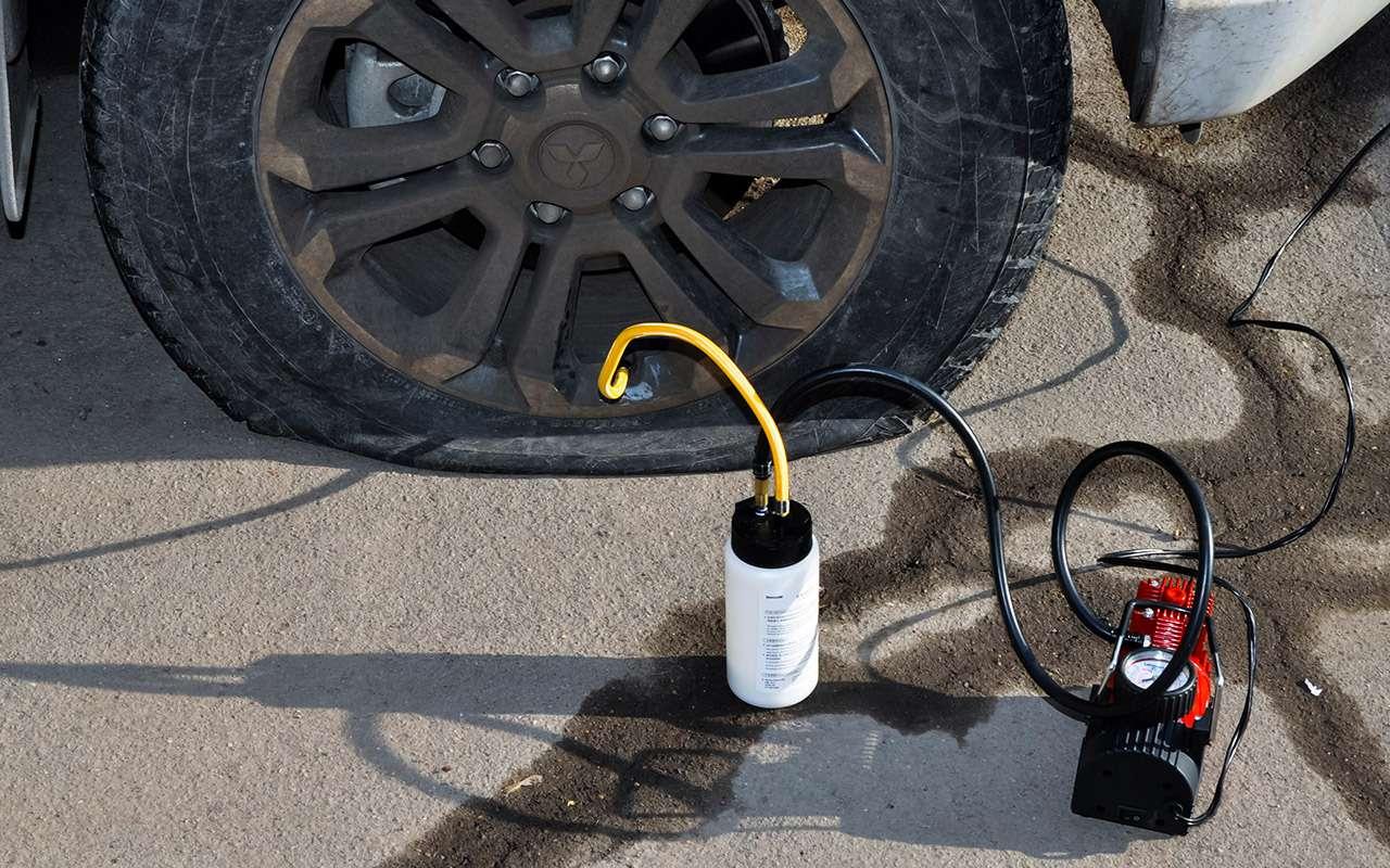 Средство Baseus Tire Repair Fluid попадёт внутрь ремонтируемой шины только при подключении компрессора или насоса.